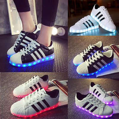 Unisex LED 7 Light USB Lace Up Sneaker Sportswear Striped Luminous Casual Shoes
