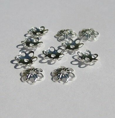 5 mm Solid Sterling Silver 925 Round Flower Cap 10 - 300 pc
