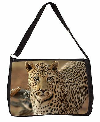 Leopard Large Black Laptop Shoulder Bag Christmas Gift Idea, AT-5SB