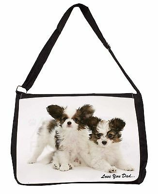 Papillon Dogs 'Love You Dad' Large Black Laptop Shoulder Bag School/Co, DAD-83SB