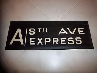 Vintage Collectible Nyc Subway A Train 8 Ave Express Manhattan Art Ny Roll Sign