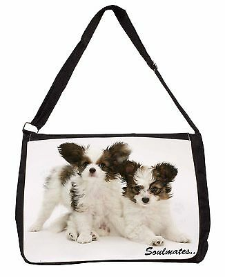 Papillon Puppy Dog 'Soulmates' Large Black Laptop Shoulder Bag School, SOUL-44SB