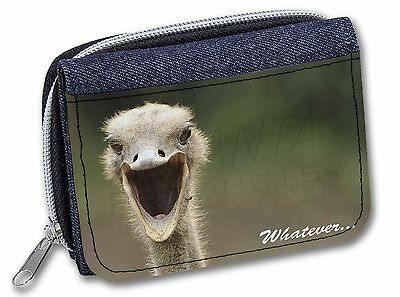 Ostritch with 'Whatever' Girls/Ladies Denim Purse Wallet Christmas Gif, AB-OS2JW