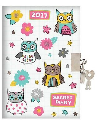 2017 A6 Week To View Hardback Secret Diary With Padlock - Owls & Flowers