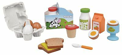 Lelin Wooden Breakfast Cereal Food Play Set Childrens Pretend Play - 14 Pieces