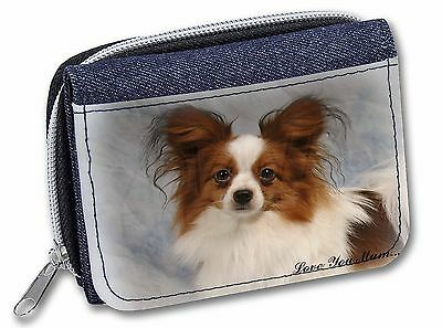 Papillon Dog 'Love You Mum' Girls/Ladies Denim Purse Wallet Christm, AD-PA1lymJW