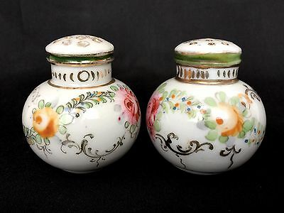 Antique Porcelain Hand Painted Floral Round Salt Pepper Sugar Shakers
