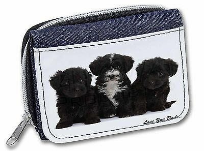 Yorkipoo Pups 'Love You Dad' Girls/Ladies Denim Purse Wallet Christma, DAD-139JW