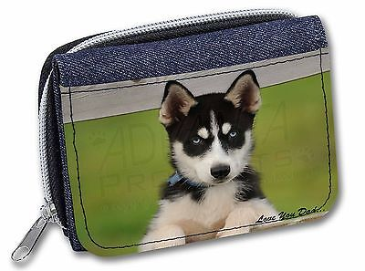 Husky Pup 'Love You Dad' Girls/Ladies Denim Purse Wallet Christmas Gif, DAD-56JW