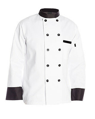 CHEF CODE Phillipe Classic Chef Coat with Black Buttons, Collar and Cuffs CC120
