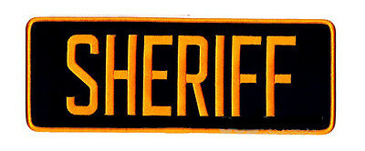 Large Sheriff Patch Gold on Black Back Patch - Iron on - 11 x 4 Inches