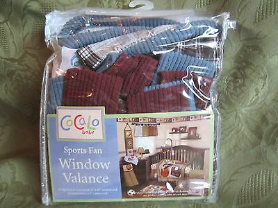 Cocalo Sports Fan Window Valance Plaid Brown Blue Green Maroon Cream Decorative