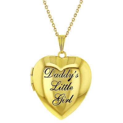 """Gold Tone Heart Photo Locket Pendant Necklace Daddy's Little Girl 19"""""""