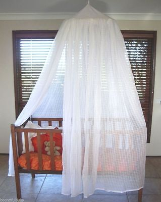 Mosquito Net Baby Cot 100% Cotton Muslin w Hoop Included Natural / White Colour