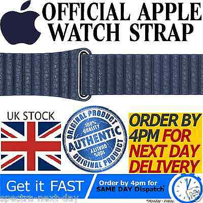 Genuine Official Apple Watch Strap 42Mm Midnight Blue Leather Loop Mlhl2Zm/a