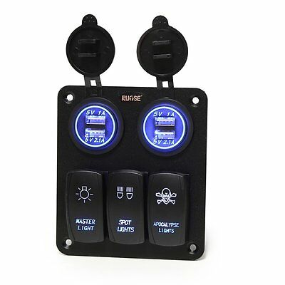 Car Marine Boat 3 Gang Switch Panel Blue Red LED Light 5pin On-off Switch 12-24V