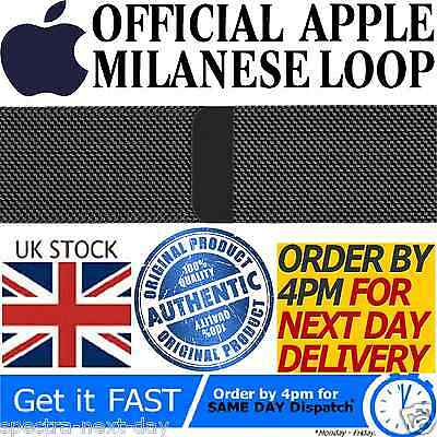 Genuine Official Apple Watch Strap Space Black Milanese Loop 42Mm 316L Mljh2Zm/a