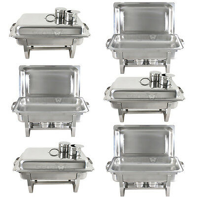 6-Pack Segawe Full Size 8 Qt. Stainless Steel Chafing Dishes with Durable Frames