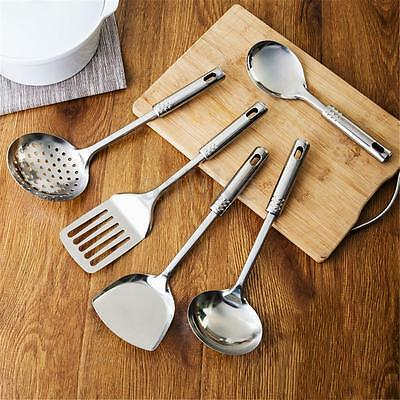5 Piece Stainless Steel Utensil Set Kitchen Cooking Tools Spoon Spatula Ladle
