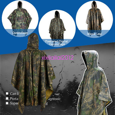 Waterproof Army Hooded Ripstop Festival Rain Poncho Military Camping Hiking AU