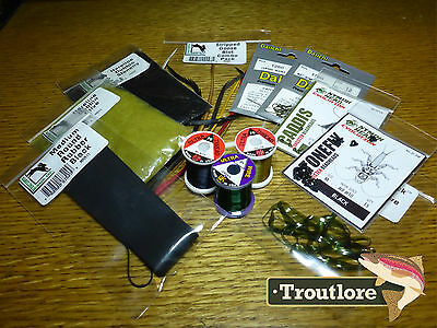 12 Pc Nymph Kit #2 - Thread, Feathers, Dubbing Pack New Fly Tying Supplies Set