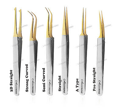 Alluring Eyelash Extensions Chrome with Gold Tip Tweezers