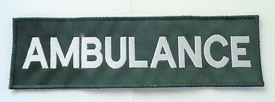 Green & Silver AMBULANCE Paramedic Medic Sew On Embroidered Back Patch Badge