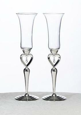 Dangling Jewel Wedding Day Silver Champagne  Flutes x 2