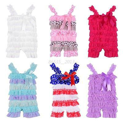 Summer Romper Baby Girls Toddler Kids Lace Petti Ruffle Jumpsuit Playsuit 0-3T