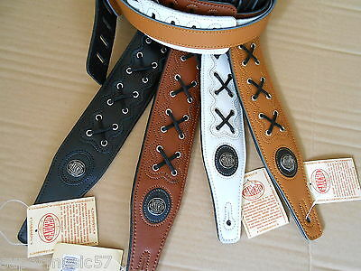 """2.5"""" Wide Genuine Leather Adjustable Acoustic Electric Or Bass Guitar Strap"""