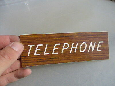 "Vinyle ""TELEPHONE"" Plaque Sign Architectural Salvage Laminate Vintage - Retro"