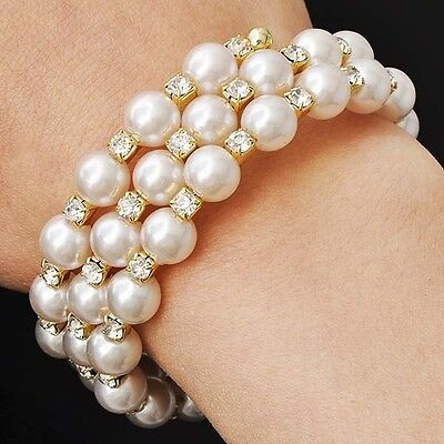 Womens Yellow Gold Plated Vintage Pearl Crystal Silver Stretch Wrap Bracelet