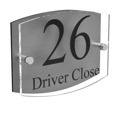 Clear Acrylic House Sign Modern Brushed Aluminium Door Number Name Road Plaque