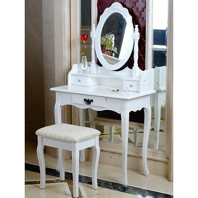 WHITE DRESSING Table, Oval Mirror & Stool Set (3 Drawer) Bedroom ...