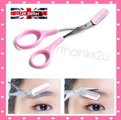 Stainless Steel Eyebrow Hair scissors Comb Makeup Trimmer Tweezers Tool woman