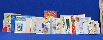 Vintage Christmas Cards Flocked Foil Bright Colors Made In USA 15 Lot