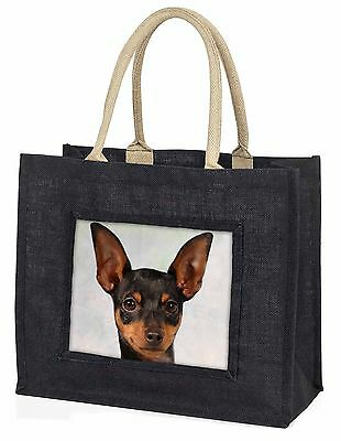 English Toy Terrier Dog Large Black Shopping Bag Christmas Present Id, AD-ET1BLB