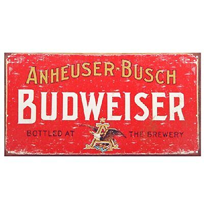 Budweiser Beer Weathered Distressed Retro Vintage Tin Sign, Free Shipping