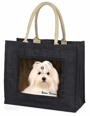 Maltese Dog 'Yours Forever' Large Black Shopping Bag Christmas Presen, AD-M1yBLB
