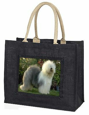 Old English Sheepdog Large Black Shopping Bag Christmas Present Idea, AD-OES1BLB