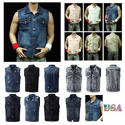 Men's Denim Vest Jean Jacket Tank Top Vest Stylish Sleeveless Hipster Hip Hop