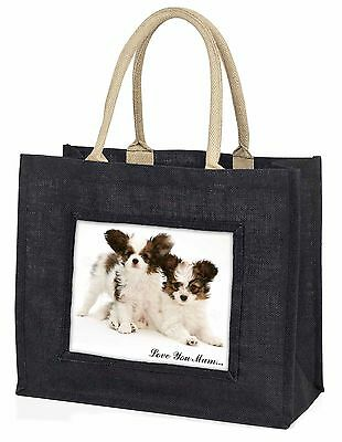 Papillon Dogs 'Love You Mum' Large Black Shopping Bag Christmas P, AD-PA65lymBLB