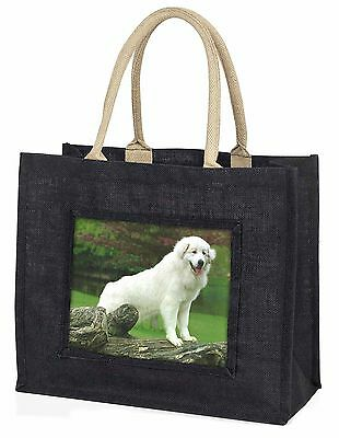 Pyrenean Mountain Dog Large Black Shopping Bag Christmas Present Idea, AD-PM1BLB