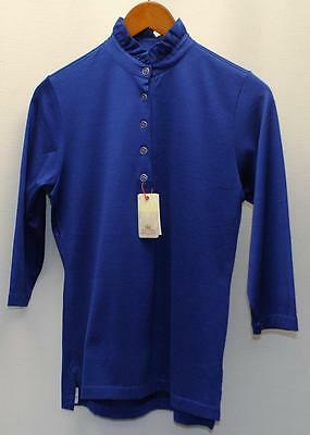 New Ladies Peter Millar polyester cotton Blue 3/4 sleeves golf shirt Small
