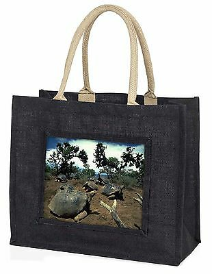 Galapagos Tortoise Large Black Shopping Bag Christmas Present Idea   , AR-T11BLB