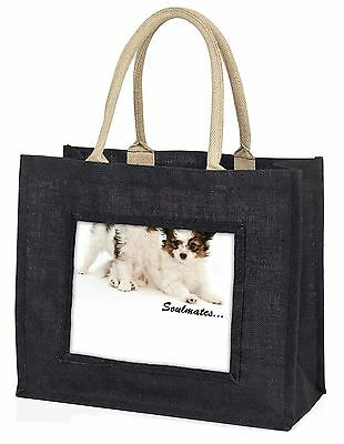 Papillon Puppy Dog 'Soulmates' Large Black Shopping Bag Christmas Pr, SOUL-44BLB