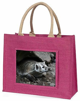 Badger on Watch Large Pink Shopping Bag Christmas Present Idea, ABA-2BLP