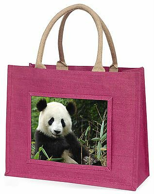Beautiful Panda Bear Large Pink Shopping Bag Christmas Present Idea, ABP-1BLP