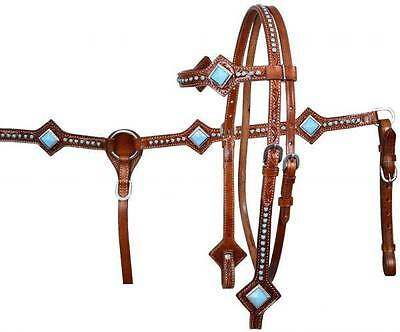 Showman MEDIUM OIL Leather Headstall & Breast Collar Set W/ TURQUOISE STONES!