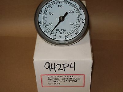 "Thermometer 3"" Face 4"" Stem 50-550*F Bbq Pitts   <942P4"